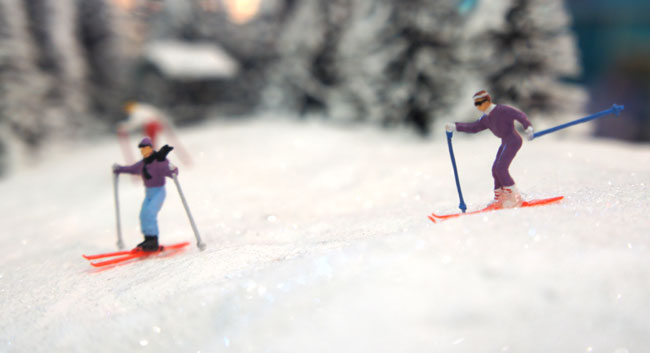 skiërs in modelspoor
