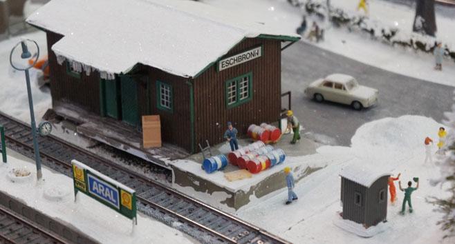 Modelspoorbaan met een duidelijk winter thema!