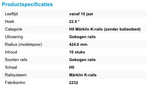 marklin k-rails productspecificaties