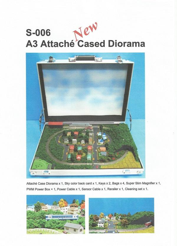 Je kunt een compleet diorama bestellen in een attachékoffer van het formaat A3. Bedenk wel dat je steeds met één trein tegelijk kunt rijden op deze baan.