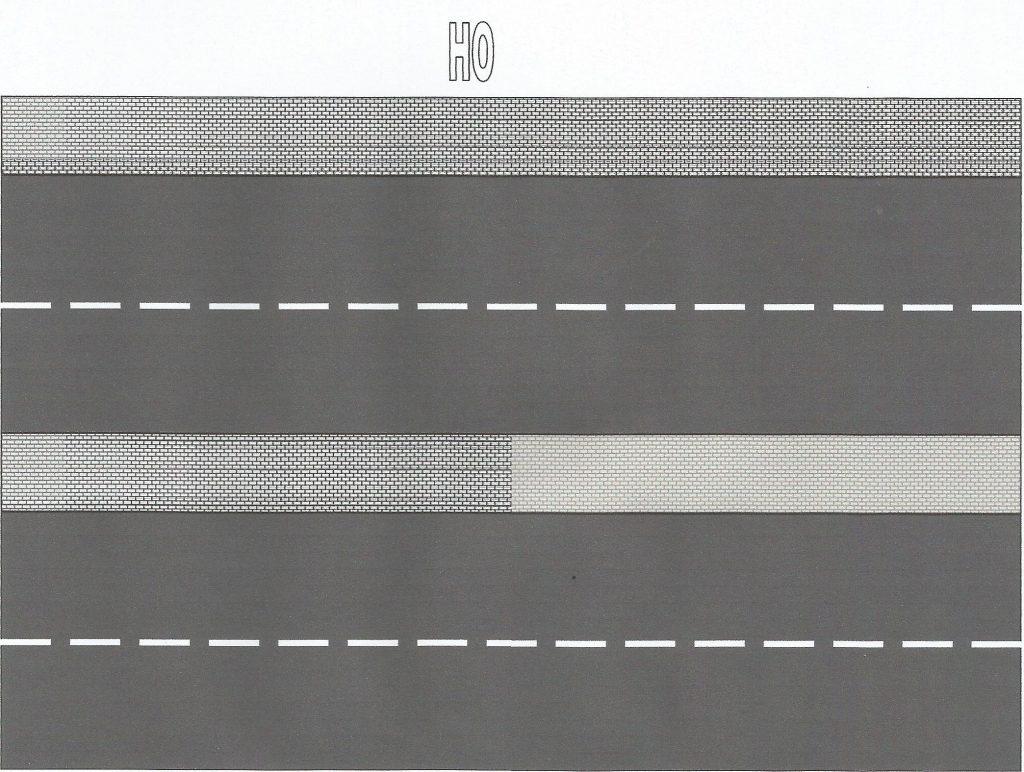 Asfaltweg met trottoirs H0